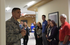 2nd Lt. Shawn Winkeler, Tricare operations and patient administration flight commander from the 509th Medical Group, gives local Tricare network providers a base of the clinic Oct. 19, 2018 at Whiteman Air Force Base, Missouri. The 509th MDG provides trusted medical support, community health and wellness and develops and sustains mission-ready medics to support Combatant and Joint Force Commanders. The group also provides health services for more than 12,000 beneficiaries. (U.S. Air Force photo by Staff Sgt. Joel Pfiester)