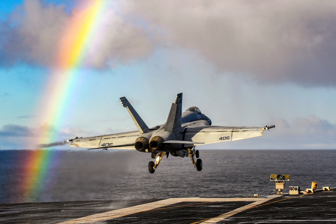A Super Hornet takes off from a carrier.