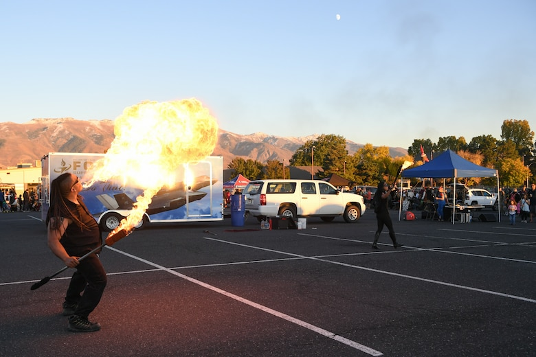 A fire-breathing act was part of the festivities at the Haunting of the Hill celebration Oct. 19, 2018 at Hill Air Force Base, Utah. (U.S. Air Force photo by Cynthia Griggs)
