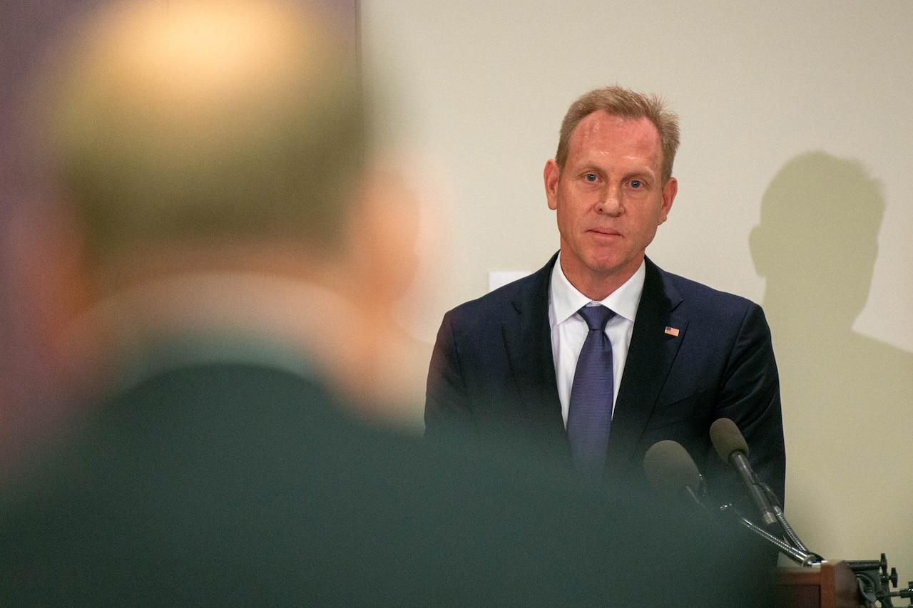 Deputy Secretary of Defense Patrick M. Shanahan speaks to reporters.
