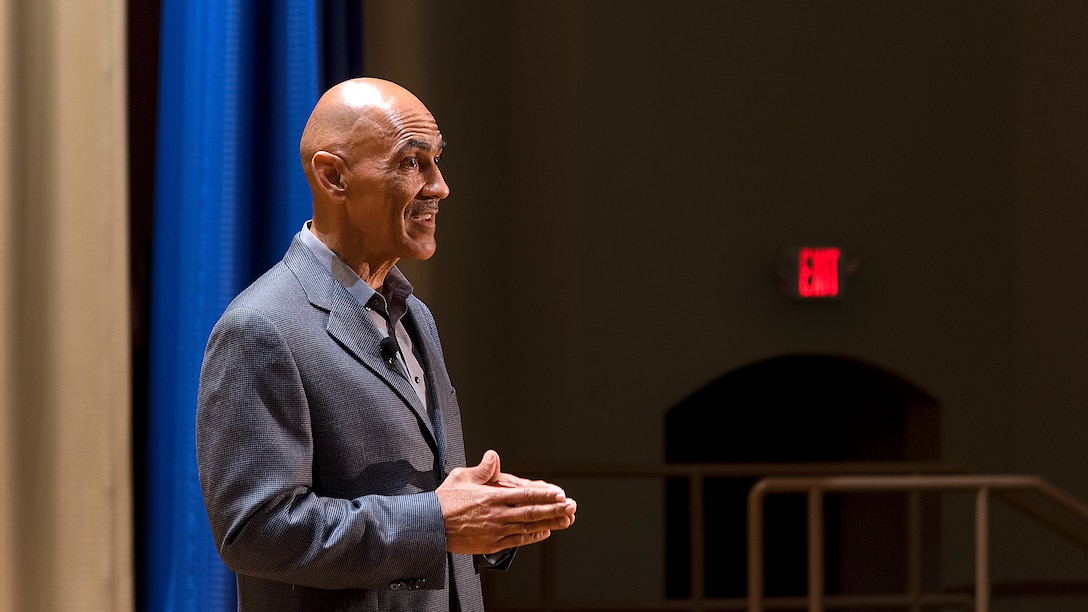 Super Bowl winning head coach and Pro Football Hall of Fame inductee, Tony Dungy, speaks to MacDill Air Force Base, Fla., service members Oct. 24, 2018. Dungy focused his speech on the connection between resiliency and suicide awareness and prevention.