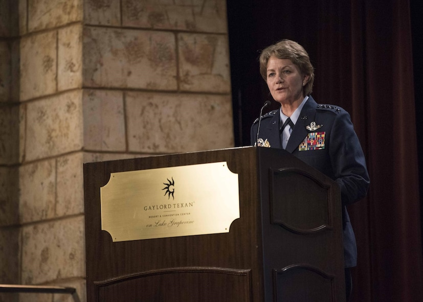 Gen. Maryanne Miller, Air Mobility Command commander, introduces the Secretary of the Air Force Heather Wilson at the Airlift/Tanker Association Symposium in Grapevine, Texas, Oct. 25, 2018. A/TA provides mobility Airmen a professional development forum to  engage with industry experts within the mobility enterprise, attend seminars focused on mobility priorities, and listen to leadership perspectives from top leaders in the Air Force and Department of Defense.     (U.S. Air Force photo by Tech. Sgt. Jodi Martinez)