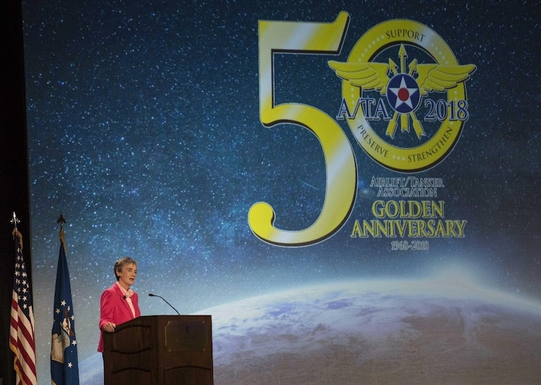 Secretary of the Air Force Heather Wilson, gives the first major address of the Airlift/Tanker Association Symposium in Grapevine, Texas, Oct. 25, 2018. Wilson spoke about the Air Force's status in restoring readiness in the force and outlined plans to grow squadrons, develop leaders, and cost-effectively modernize to succeed in the current age of great power competition. A/TA provides mobility Airmen a professional development forum to engage with industry experts within the mobility enterprise, attend seminars focused on mobility priorities, and listen to leadership perspectives from top leaders in the Air Force and Department of Defense.     (U.S. Air Force photo by Tech. Sgt. Jodi Martinez)