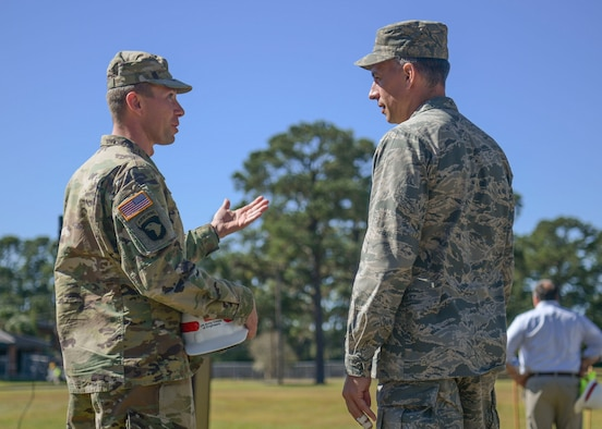 Maj. Paul Sipe (left), Army Corps of Engineers, Charleston District deputy commander and Lt. Col. Christopher Carnduff, 628th Civil Engineer Squadron commander, converse at the new Visitor's Quarters groundbreaking Oct. 24, 2018, at Joint Base Charleston, S.C. The project is a result of low vacancy at the current Visitor's Quarters. The modernized four-story structure will have 266 guest rooms, conference rooms, an exercise room, guest laundry and other amenities covering 150,000 square-feet. The Visitor's Quarters project is slated for completion in Fall 2020.