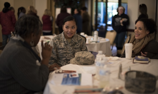 Airman 1st Class Julie Ann Garmon, 87th Logistics Readiness Squadron materiel manager, listens to a story during an Inclusive by Design: A Gathering of Influencers conference on Joint Base McGuire-Dix-Lakehurst, New Jersey, Oct. 25, 2018. The conference was held by the Kids Included Together organization which provided a safe space for people to speak freely. Garmon was able to talk and connect with other Joint Base MDL community members who understood her situation. (U.S. Air Force photo by Airman First Class Ariel Owings)