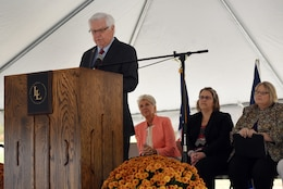 U.S. Rep. Hal Rogers, representing Kentucky's 5th Congressional District, announces the Fariston Water Storage Tank Section 531 Project to construct a 500,000 gallon elevated water tank during a groundbreaking ceremony Oct. 25, 2018 for Greer Industrial Park in Laurel County, Ky. (USACE photo by Lee Roberts)