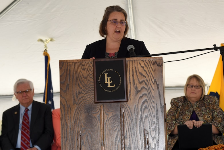 Angela Dunn, U.S. Army Corps of Engineers Nashville District Project Planning Branch chief, speaks about her excitement for a new water tower and its benefits to the region during a groundbreaking ceremony Oct. 25, 2018 for Greer Industrial Park in Laurel County, Ky. (USACE photo by Lee Roberts)