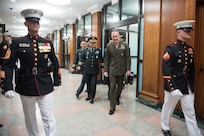 U.S. Chairman of the Joint Chiefs of Staff Gen. Joe Dunford speaks with his counterpart Chairman of the Republic of Korea Joint Chiefs of Staff Gen. Park Han-Ki as they head to multilateral meetings between U.S., Republic of Korean, and Japanese military officials at the Pentagon, Oct. 26, 2018.