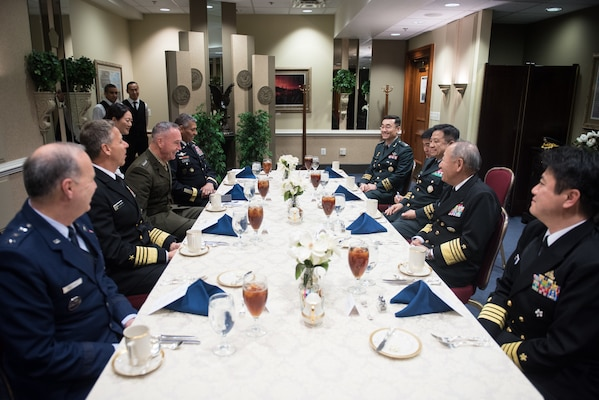 U.S. Chairman of the Joint Chiefs of Staff Gen. Joe Dunford hosts his Japanese and Republic of Korean counterparts for lunch after multilateral meetings at the Pentagon, Oct. 26, 2018.