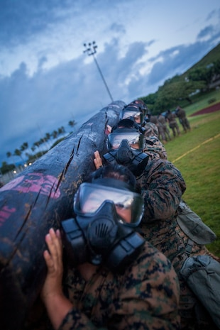 U.S. Marines with Headquarters Battalion, Marine Corps Base Hawaii (MCBH), participate in log lifts during a circuit course training event with their M53 gas masks, MCBH, Oct. 19, 2018. The circuit course and experience consisted of various workouts while the Marines wore their gas masks, providing confidence and experience with the equipment while remaining highly active in a simulated Chemical, Biological, Radiological, Nuclear Defense environment. (U.S. Marine Corps photo by Cpl. Matthew Kirk)