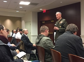 Marine Corps Gen. Joe Dunford, the chairman of the Joint Chiefs of Staff, describes the global strategic environment during a presentation at the Military Reporters and Editors Conference in Arlington, Va., Oct. 26, 2018. DOD photo by Jim Garamone