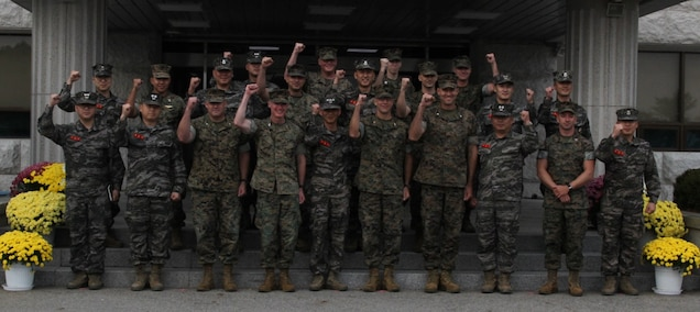MARINE CORPS BASE BARAN, Republic of Korea – U.S. Marine Corps Forces Korea and Republic of Korea Marines conduct a combined staff talk here, Oct. 22. MARFORK, U.S. Marine Corps Forces Pacific, III Marine Expeditionary Force leadership visited the ROK Marine Corps headquarters to speak with their counterparts in order to strengthen their relationships and foster mutual understanding. (U.S. Marine Corps photo by Sgt. Nathaniel Hanscom/Released)