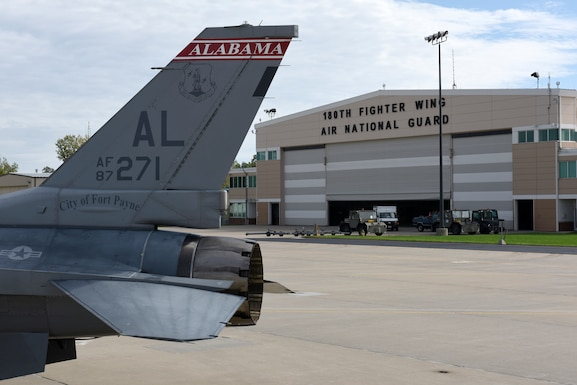 U.S. Air Force F-16 Fighting Falcons from the 187th Fighter Wing, Alabama Air National Guard sit alongside F-16s from the 180th Fighter Wing, Ohio Air National Guard in Swanton, Ohio after evacuating Hurricane Michael on Oct. 9, 2018. Many different units around the nation temporarily hosted aircraft from the gulf region to safeguard military assets, highlighting the teamwork and integration of the U.S. Air National Guard. (U.S. Air National Guard photo by Staff Sgt. Shane Hughes)