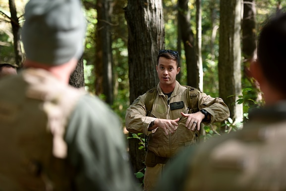 U.S. Air Force pilots assigned to the 180th Fighter Wing, Ohio Air National Guard participated in survival training at Oak Openings Metropark in Swanton, Ohio. Survival training helps ensure pilots can survive in the wilderness and evade capture until they can be rescued. (U.S. Air National Guard photo by Staff Sgt. John Wilkes)