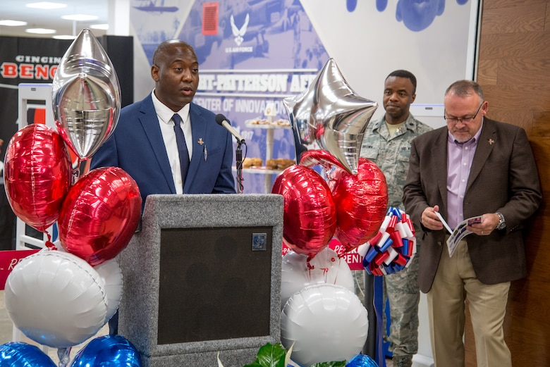 Jermaine Wilson, Wright-Patterson Exchange general manager, delivers remarks at the Exchange's grand re-opening ceremony Oct. 25, 2018 after completing a $6.4 million renovation to the nearly 40-year-old facility.