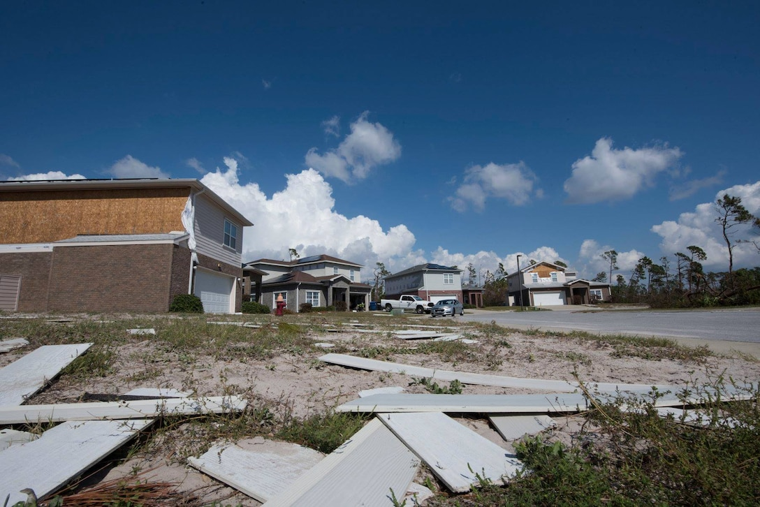 Debris lies in a yard Oct. 19, 2018 at Tyndall Air Force Base, Fla. In the aftermath of Hurricane Michael, the Krietes relied on the Air Force and each other to overcome adversity. (U.S. Air Force photo by Airman 1st Class Dalton Williams)