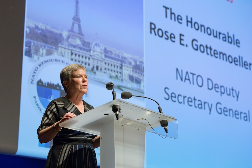 NATO Deputy Secretary General Rose Gottemoeller speaks in Paris at the NATO Resource Conference, Oct. 16, 2018. Gottemoeller discussed Russia's noncompliance with its nonproliferation treaties at an arms control conference in Reykjavik, Iceland.