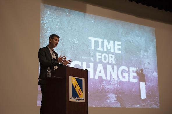 American-political scientist visits SJAFB, talks 21st century warfare