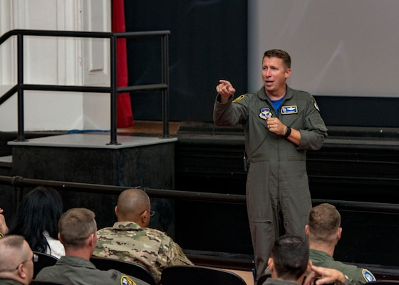 Maj. Gen. Patrick Doherty, 19th Air Force commander, speaks to Airmen attending the second annual Air Education and Training Command Flying Training Awards Ceremony Oct. 26, 2018, at Joint Base San Antonio-Randolph, Texas. The award ceremony recognizes individuals, squadrons, groups and wings whose efforts have led to the highest levels of student production.