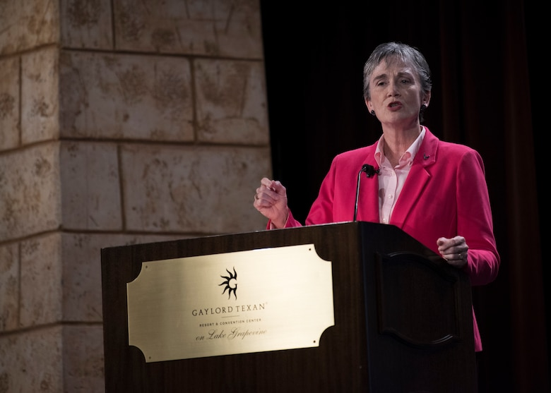 Secretary of the Air Force Heather Wilson, gives the first major address of the Airlift/Tanker Association Symposium in Grapevine, Texas, Oct. 25, 2018. A/TA provides mobility Airmen a professional development forum to  engage with industry experts within the mobility enterprise, attend seminars focused on mobility priorities, and listen to leadership perspectives from top leaders in the Air Force and Department of Defense.       (U.S. Air Force photo by Tech. Sgt. Jodi Martinez)