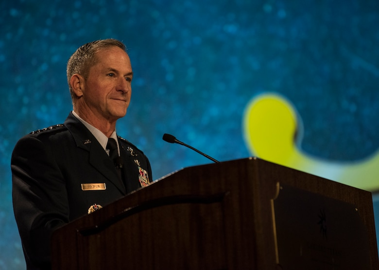"Chief of Staff of the Air Force David L. Goldfein speaks during the Airlift/Tanker Association Symposium in Grapevine, Texas, Oct. 26, 2018. ""We have returned to an era of great power competition where the challenges we face are complex and require creative solutions,"" said Goldfein. ""One of our jobs as leaders is to create the environment to unleash the brilliance in this room … to think through these challenges and acknowledge that there are opportunities resident in each."" A/TA provides mobility Airmen a professional development forum to engage with industry experts within the mobility enterprise, attend seminars focused on mobility priorities, and listen to leadership perspectives from top leaders in the Air Force and Department of Defense. (U.S. Air Force photo by Tech. Sgt. Jodi Martinez)"