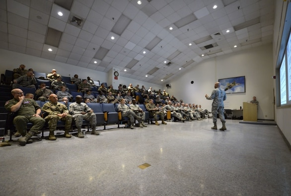 Master Sgt. Keith A. Thomas, U.S. Air Force Warfare Center Inspector General superintendent of complaints, briefs a room of non-commissioned officers during the Nellis/Creech Superintendent Symposium Oct. 23, 2018 on Nellis Air Force Base, Nevada. The symposium was a week-long event dedicated to current, newly appointed and prospective superintendents looking to gain the knowledge they needed for their positions. (U.S. Air Force photo by Airman Bailee A. Darbasie)