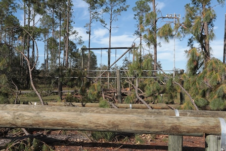 Strong wind gusts from Hurricane Michael snapped hundreds of trees, violently blew debris and toppled dozens of power lines. But damages at Marine Corps Logistics Base Albany paled in comparison to the vast devastation experienced from the EF3 tornado that touched down here in January 2017. And it's likely the reason personnel aboard the installation were prepared to take the necessary steps to keep the mission going for the logistics base and its tenant organizations. (U.S. Marine Corps photo by Re-Essa Buckels)