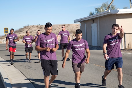 Headquarters Company Marines, enjoying the time walking together during the 2018 Survivor Walk, and helping to bring awareness to Domestic Violence Prevention Oct. 26.