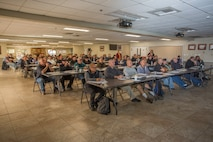 Delilah Sampson, director of Human Resources, gives a presentation on orders, policies and other regulations  to a group of newly hired Department of Defense employees aboard MCLB Barstow, Calif., Oct. 29.  (U.S. Marine Corps Photo by Jack J. Adamyk)