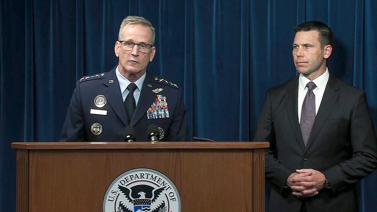 Air Force Gen. Terrence J. O'Shaughnessy, commander of U.S. Northern Command and North American Aerospace Defense Command, discusses the Defense Department deployment to the Southwest border during a joint news conference in Washington.