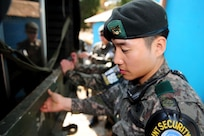 Joint Security Area (JSA) Republic of Korea (ROK) personnel secure items from a check point area located at the JSA in Panmunjom, ROK, Oct. 25, 2018. The United Nations Command, in coordination with the Ministry of National Defense verified the demilitarization as part of the Comprehensive Military Agreement between the ROK and the Democratic People's Republic of Korea.