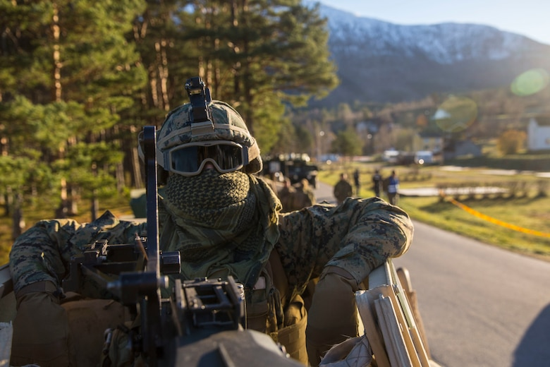 Lance Cpl. Anthony Cardella prepares for a convoy during Trident Juncture 18, Oct. 29, 2018.