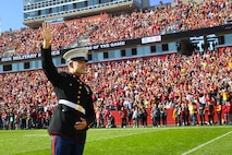 "Chicago, Ill. native, Sgt. Nicholas Rojas, administrative specialist with Marine Corps Recruiting Station Des Moines, Iowa, is recognized as the ""Hero of the Game"" during the Iowa State University versus Texas Tech University football game at Jack Trice Stadium in Ames, Iowa, October 27, 2018."