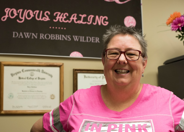 Dawn Wilder, 49th Medical Group quality and risk manager, poses for a photo October 25, 2018, at Holloman Air Force Base, N.M. Wilder was diagnosed with breast cancer in 2015, and is celebrating her third year of being cancer free. (U.S. Air Force photo by Staff Sgt. BreeAnn Sachs)