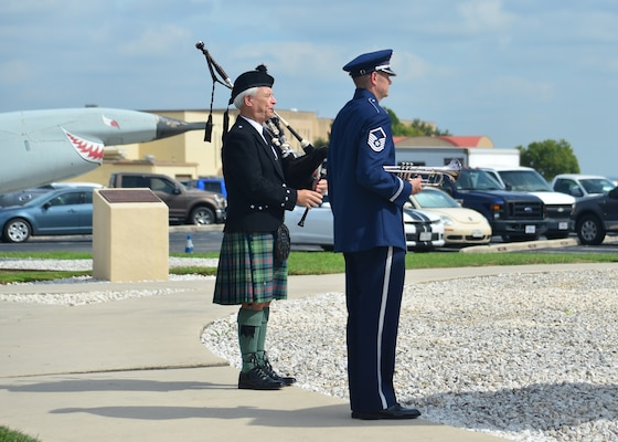 During the Twenty-Fifth Air Force Remembrance Ceremony at Joint Base San Antonio-Lackland Sept. 28, E.W. Forbess plays amazing grace. Each year, former and present members of Twenty-Fifth Air Force, friends and collogues gather to remember the year's fallen silent warriors.