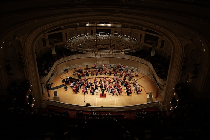 On Oct. 24, 2018, the Marine Band performed at Symphony Center in Chicago as part of its National Concert Tour. The Chicago Symphony Orchestra sponsored the event. (U.S. Marine Corps photo by Master Sgt. Amanda Simmons/released)