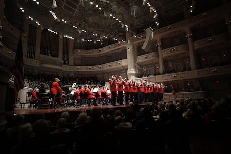 On Oct. 27, 2018, the Marine Band performed at The Palladium in Carmel, Ind. The concert was sponsored by the Center for the Performing Arts. (U.S. Marine Corps photo by Master Sgt. Amanda Simmons/released)