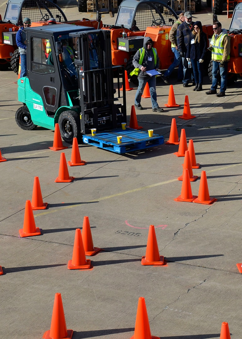 """""""Basket Slalom"""" forced MHE Rodeo competitors to put their tight cornering skills to the test on a course with almost zero room for error."""