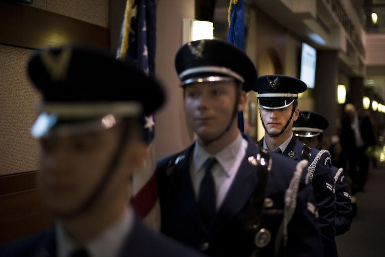 Airman First Class Jonathan Miertschin, Joint Base McGuire-Dix-Lakehurst Honor Guard ceremonial guardsman, stands in formation during an open house at the 87th Medical Group on Joint Base MDL, New Jersey, Oct. 25, 2018. The open house served to solidify the relationship between military and local health care providers. (U.S. Air Force photo by Airman First Class Ariel Owings)
