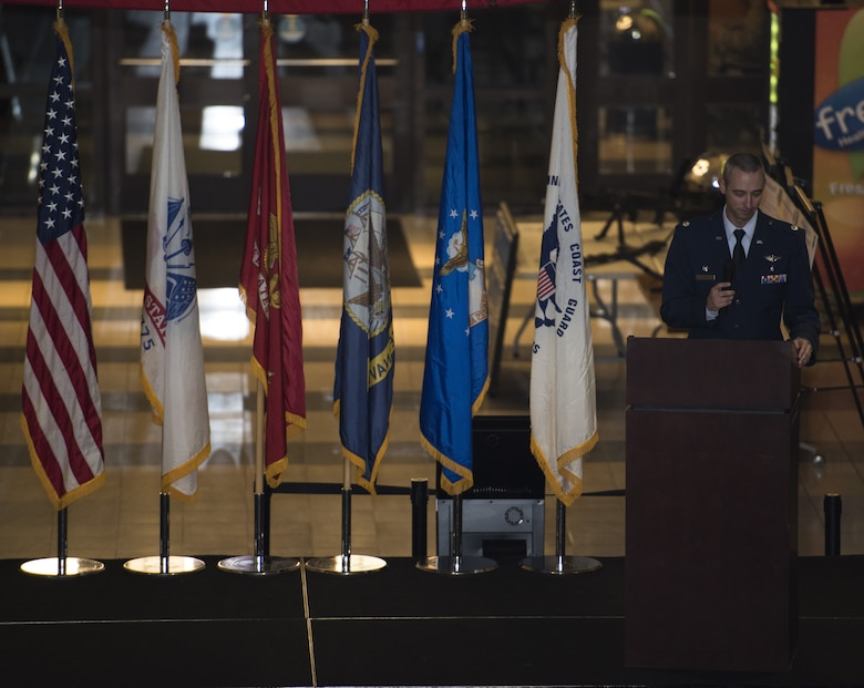 U.S. Air Force Lt. Col. Richard Kipp, 87th Aerospace Medicine Squadron commander, gives opening remarks during an open house at the 87th Medical Group on Joint Base McGuire-Dix-Lakehurst, New Jersey, Oct. 25, 2018. Approximately 200 local health care providers who work with the 87th MDG treating Joint Base MDL community members attended the event, demonstrating the importance of their support. (U.S. Air Force photo by Airman First Class Ariel Owings)