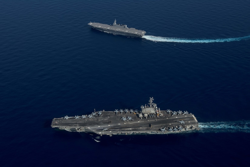 USS Ronald Reagan and Izumo-class helicopter destroyer JS Izumo break formation during combined Japan Maritime Self-Defense Force and U.S. Navy exercise, South China Sea, June 15, 2017 (U.S. Navy/Nathan Burke)