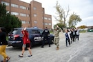 Soldiers and staff from the 85th Support Command and the Defense Contract Management Agency-Chicago evacuate a building during an active shooter training exercise at the command headquarters, Oct. 30, 2018.