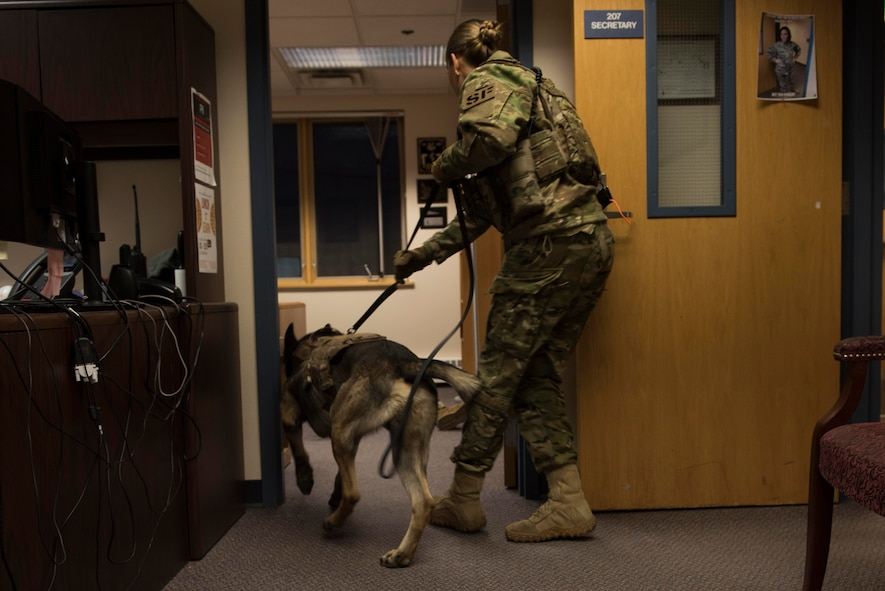 During the exercise, a simulated active shooter entered the 354th Communications Squadron building where he was later found by SFS members.