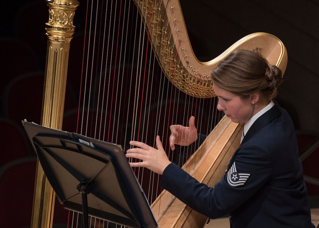 Tech. Sgt. Gréta Ásgeirsson, U.S. Air Force Band harpist, performs at the V. Sue Cleveland High Concert Hall in Rio Rancho, N.M., Oct. 17, 2018. The band performed in 12 locations across New Mexico and Texas. (U.S. Air Force photo by Senior Airman Abby L. Richardson)