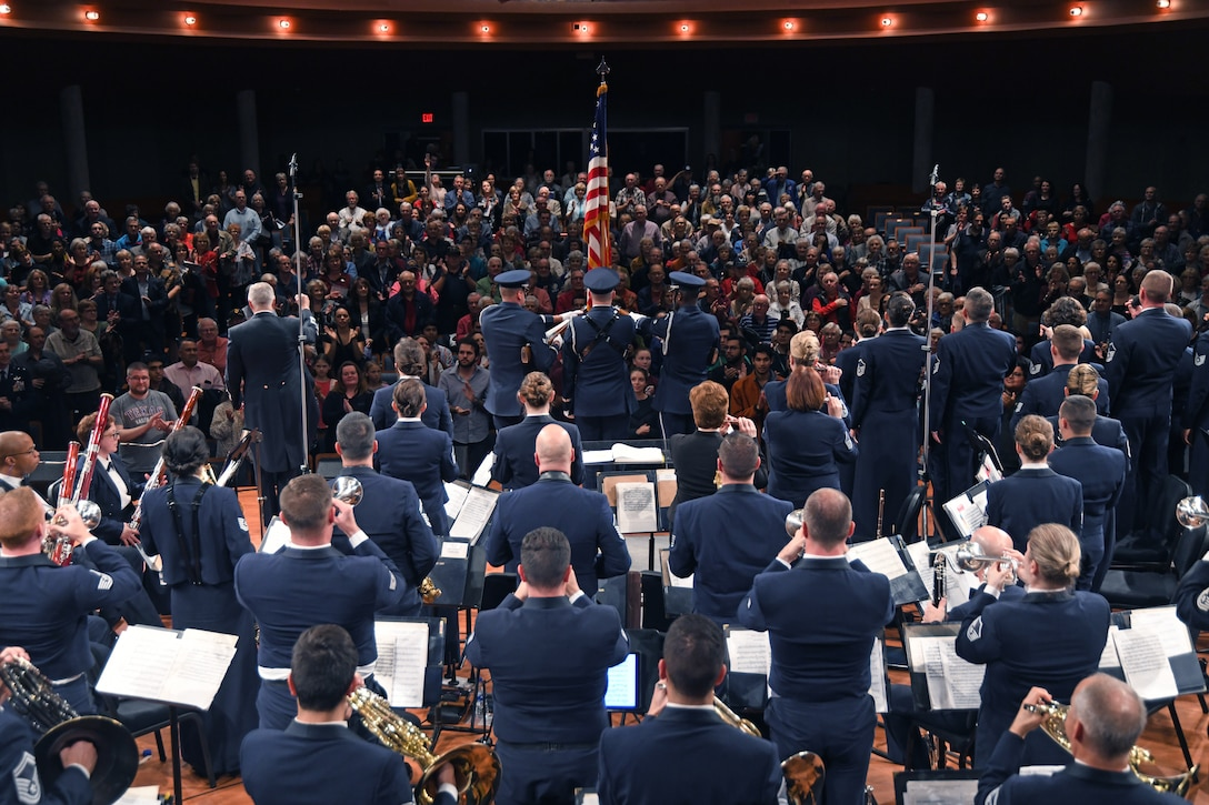 The U.S. Air Force Band finishes the last song of the night at the University of North Texas in Denton, Texas, Oct. 25, 2018. The band performed in locations across New Mexico and Texas to inspire and engage the local communities. (U.S. Air Force photo by Senior Airman Abby L. Richardson)