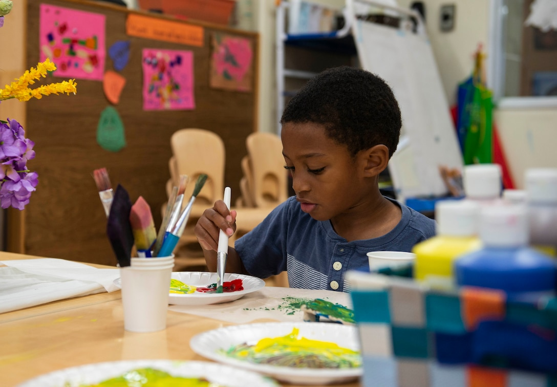 Avery Edwards paints at Wakaba Child Development Center at Kadena Air Base, Japan, Oct. 12, 2018. There are several CDC's on base that provide a creative learning environment for children of military members.
