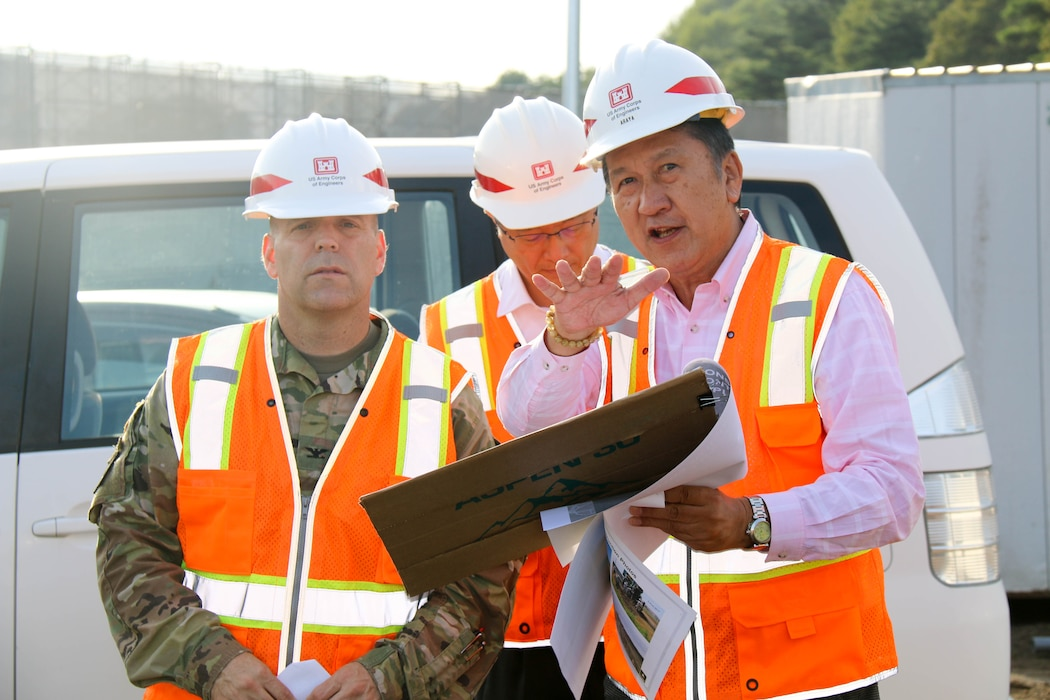 Members of the Misawa Resident Office give Japan District Commander Col. Thomas J. Verell Jr. and District Deputy Engineer for Programs and Project Management Division John N. Peukert a tour of various project sites during their visit to the Misawa Resident Office.