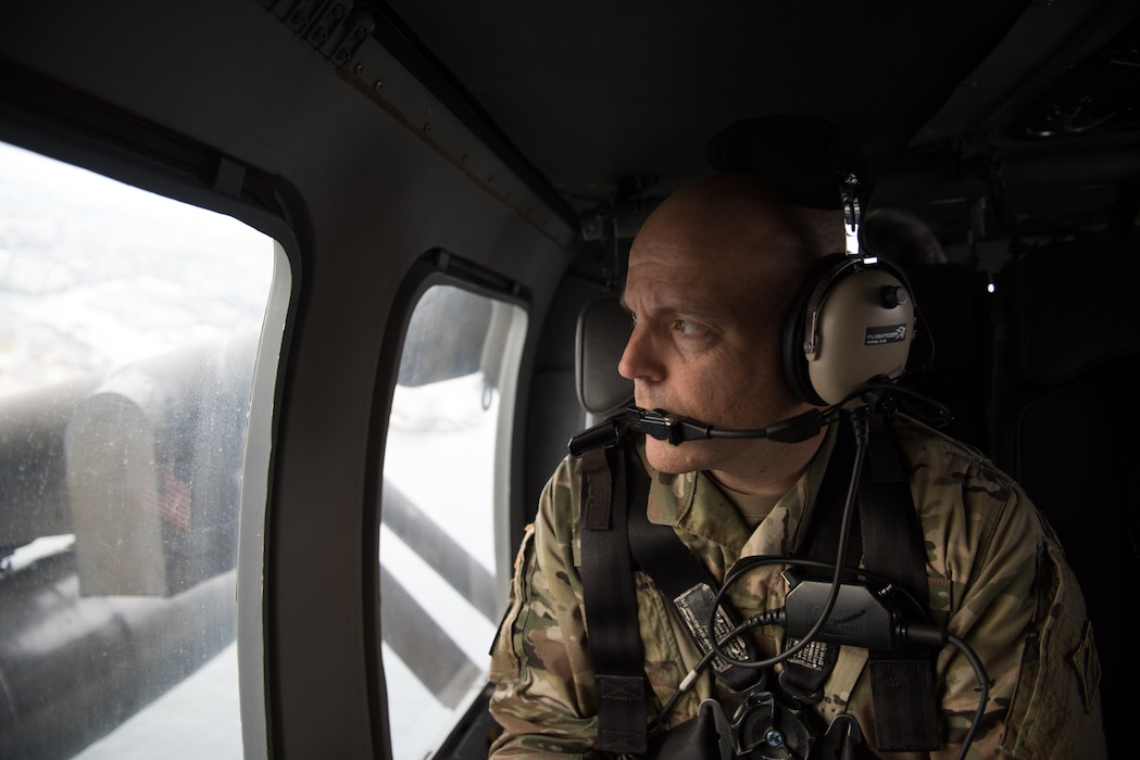 Japan Engineer District Commander Col. Thomas J. Verell, Jr. takes in the view of Japan on his way to take possession of a building on Sagami Depot.