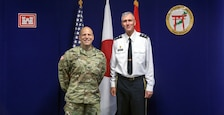 U.S. Army Japan Commander Maj. Gen. James F. Pasquarette pauses for a picture with Japan Engineer District Commander Col. Thomas J. Verell Jr. during his visit to JED.