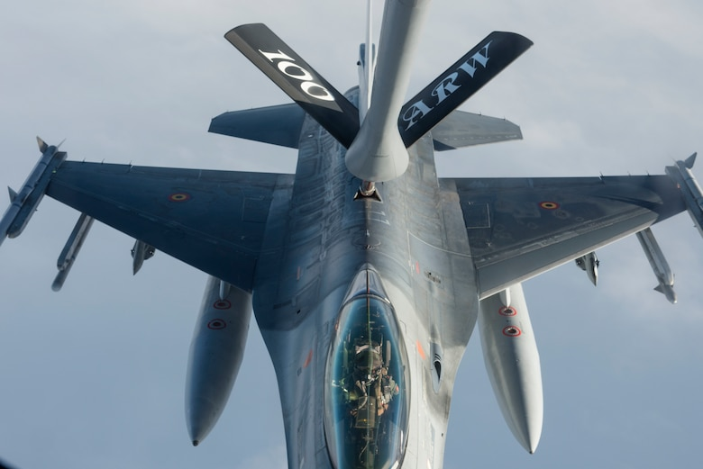 A Belgian F-16 Fighting Falcon receives fuel from a U.S. Air Force KC-135 Stratotanker during Exercise Trident Juncture 18, in Swedish airspace, Oct. 30, 2018. The exercise is the largest NATO exercise since 2015, and includes more than 50,000 military members from 31 countries. (U.S. Air Force photo by Senior Airman Luke Milano)